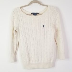 Cream polo scoop neck sweater